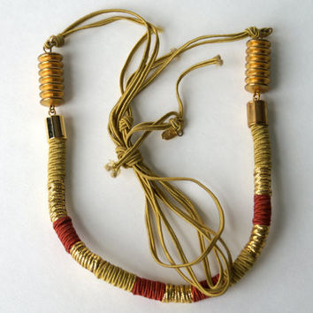 Vintage Anne Klein Necklace, Gold and Red Cord with Metal Beads