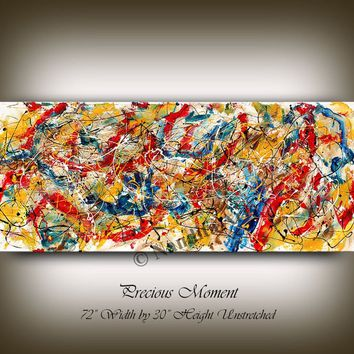 """Jackson Pollock Style Abstract Wall Art, 72"""" Oil Painting Multicolor Rich Vintage Style Painting on Canvas by Nandita, Impasto Office Decor"""
