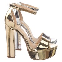 Lemony M6Towering High Chunky Block Heel Dress Sandal, Womens Party Dress Shoes
