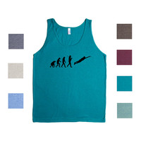 Evolution Of Man Frisbee Ultimate Game Dog Tossing Disc Chain Smoker Sport Sports Outdoors Outside Frisbees Games Racerback Tank Shirt R2
