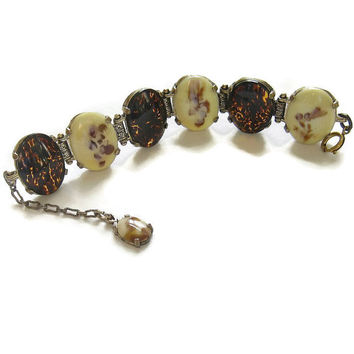 Miracle signed Bracelet Tortoise Shell & Moss Agate Vintage