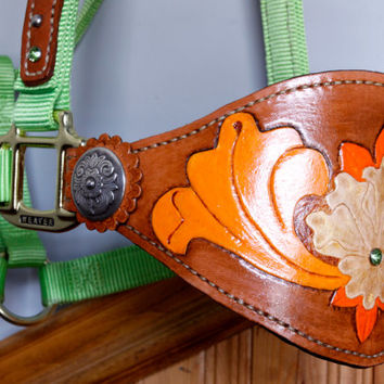 Lime Green Large Horse Halter with Tooled Leather Bronc Noseband