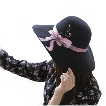 Fashion Vintage wool Wide-Brim Fedoras Hats for Women Hand painted 3D Bow tie Bowler Floppy Feminino autumn Ladies cap