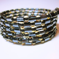 Black Gold Cuff, Black Wrap Bracelet, Memory Wire Cuff, Black Gold Stack Wrap, Women's Statement Wrap Bracelet
