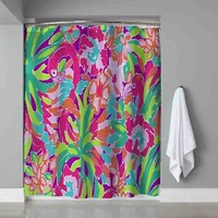 "Lilly Pulitzer Floral Pink Flamingo Design Shower Curtain 60"" x 72"" Print On"
