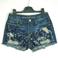 Dark Blue Sequins Frayed Dotted Denim Shorts