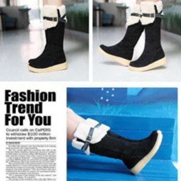 Women Winter Warm Pull On Snow Boot Faux Suede Fur Lining Knee High Buckle Shoes [8384232199]