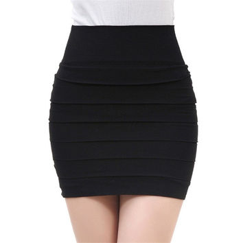 Korea Women Slim Fit Bandage High or Low Waisted Stretch Mini Short Pleated Skirt = 1946128644