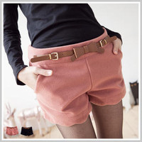 YESSTYLE: Clair Fashion- Inset-Belted Scalloped-Hem Wool Shorts - Free International Shipping on orders over $150