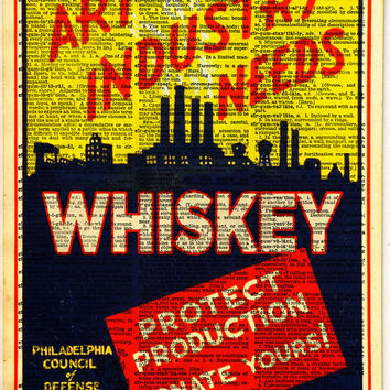 Art Industry needs Whiskey, WPA advertising poster, art deco wall art, Dictionary page print