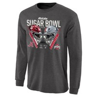 Men's Alabama Crimson Tide vs. Ohio State Buckeyes Gray 2015 Sugar Bowl Criss Cross Long Sleeve T-Shirt