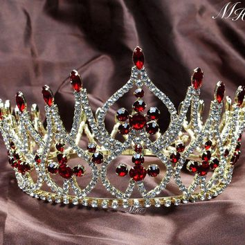 Luxurious Miss Pageant Large Crowns Full Round Wedding Bridal Tiara Diadem Gold Tone Clear Crystal Austrian Rhinestone Headpiece