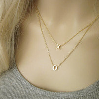Gold XO Necklace / XOXO Necklace / XO Chain / Simple Everyday Jewelry / Long Gold Necklace / N293