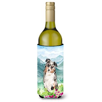 Mountian Flowers Australian Shepherd Wine Bottle Beverage Insulator Hugger CK1995LITERK