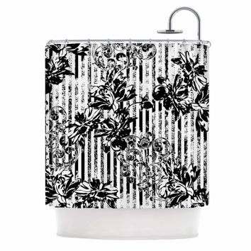 "Victoria Krupp ""Stripes And Flowers"" Black White Digital Shower Curtain"
