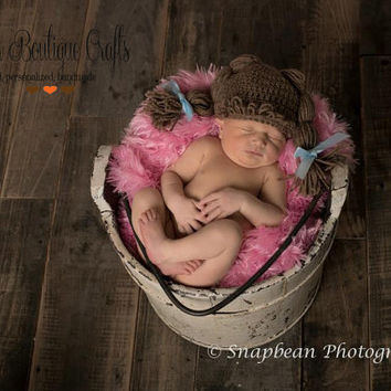 Cabbage Patch Inspired Newborn Hat, Newborn, Baby, Girl, Hat, Beanie, Cabbage Patch, Photography Prop, Photo Prop