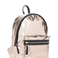 Metallic Faux Leather Backpack