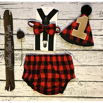 Boys Buffalo Plaid Cake Smash Set, Lumberjack Birthday, Baby Boys 1st Birthday, LumberJack Cake Smash
