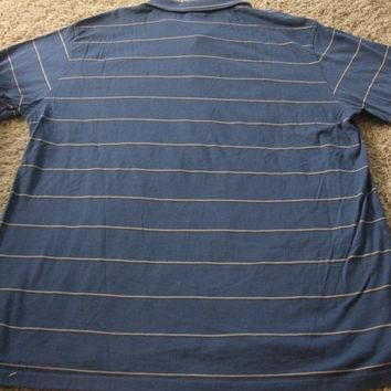 Vintage Mens Le Tigre Polo shirt 80's XL Blue Black Thin stripes Cotton Designer Retro