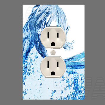 Water Wall Plug Cover Decal Outlet With Sticker Wall Art OU8