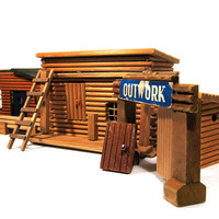 Old West Fort Vintage Model Buildings Wood Supplies Parts
