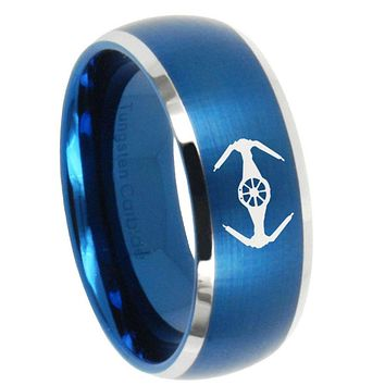 10mm Star Wars Tie Interceptor Dome Brushed Blue 2 Tone Tungsten Engraved Ring