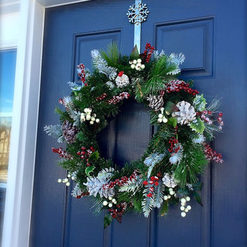 Winter Wreaths Evergreen Door Decor Snow Red Berries Cabin Wreaths January Wreaths
