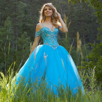 Sexy Style Ball Gown Party robe de soiree with Beading Blue/Pink Long Lace up Dress Plus Size Tulle Prom Dresses 2016 Crystal