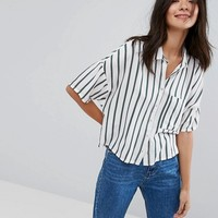 Pull&Bear Stripe Crop Shirt at asos.com
