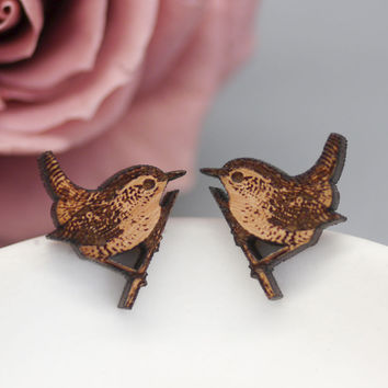 Wren Stud Earrings, Bird Earrings, Mother's Day Gift, Nature Jewellery, Wooden Studs, Wren Earrings, Laser Cut Jewellery, Wren Bird Jewelry