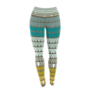 "Pellerina Design ""Teal Scallops"" Blue Aqua Yoga Leggings"