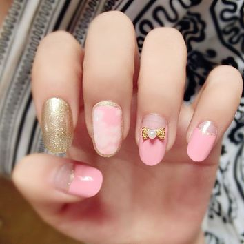24Pcs Marble Fake Nails Gold Bowknot Pink Glitter Square Artificial Nail Tips with Glue Sticker for Wedding Home Faux Ongle