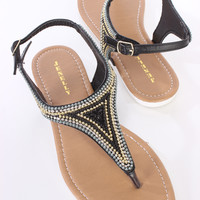 Black Beaded Thong Post Sandals Faux Leather