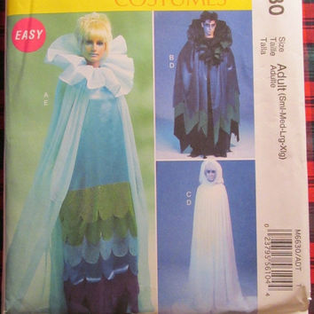 SALE Uncut McCall's Sewing Pattern, 6630! Small/Medium/Large/Men's/Women's/Adult Hallooween Costumes/Lady Gaga/Fantom Vampire Ghost Capes