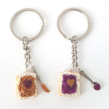 943f6c13f Peanut Butter Grape Jelly Heart Keychain Set, knife and spoon, Strawberry,  peanut butter