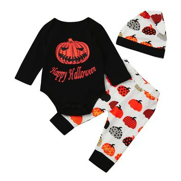 Boy's 3 Pc Halloween Outfit Includes, Onesuit, Pants and Cap, Sizes 3M - 18M