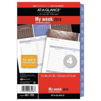 AT-A-GLANCE Day Runner Weekly / Monthly Refill, January 2018 - December 2018