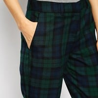 ASOS Slim Leg Cigarette Trouser in Check Coord