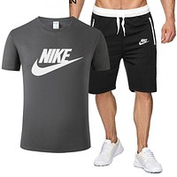 NIKE 2019 new men and women models wild casual sports suit two-piece Grey