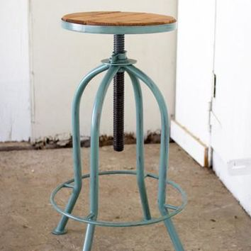 Adjustable Bar Stool With Recycled Wood - Industrial Blue Finish