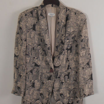 Women's Blazer and Mini Skirt with Shoulder Pads -  PIRA Size 4 Imported Fabric from Italy Black and Tan - Roman Pattern