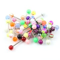 Mixed Tongue Rings Barbells Assorted Lot of 30 Surgical Steel 14g Piercing Bars Nipple Ring Body Jewelry