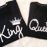 King and Queen t-shirts, Roi et reine t-shirt, queen king matching couple shirts, couple shirts, matching shirts for couples