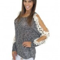 Black And Ivory Crochet Shoulder Top