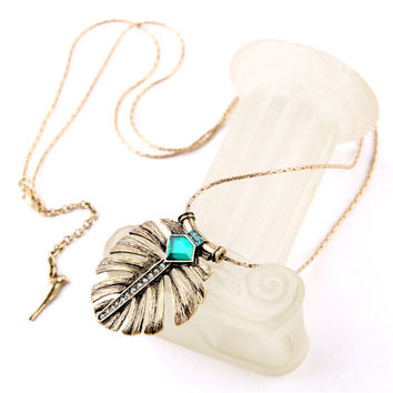 2016 New Fashion Vintage Leaf Green Crystal Necklaces & Pendants Charm Brand Jewelry Christmas Gift