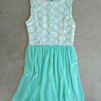 Floral & Crochet Dress in Mint [5247] - $28.80 : Vintage Inspired Clothing & Affordable Dresses, deloom | Modern. Vintage. Crafted.