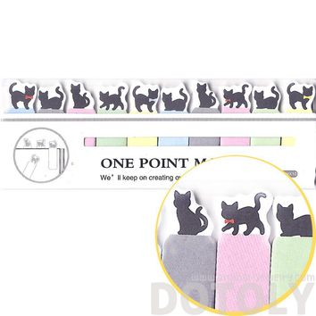 Tiny Black Kitty Cat Silhouette Shaped Animal Themed Sticky Post-it Memo Bookmark Tabs