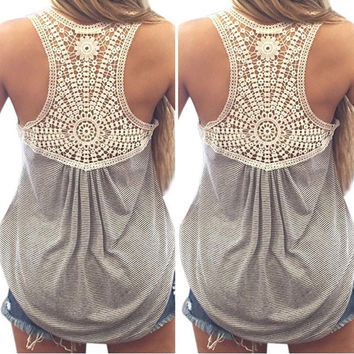 2016 Summer New Fashion Womens Striped Tank top Sexy Lace tops Crochet Back Hollow-out Woman Vest Camisole Casual Tank Tops