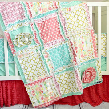 Ruffle Flower Crib Bedding - Gold, Coral, Mint -Nursery Crib Set
