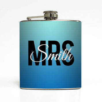 Custom Bride Flask Personalized Monogram Mrs Something Blue Bride To Be Engaged Teacher Gifts Stainless Steel 6 oz Liquor Hip Flask LC-1425